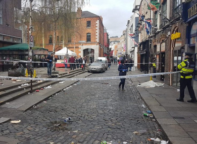 The scene in Temple Bar was sealed off by gardaí