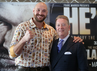 Fury with promoter Frank Warren at today's press conference.