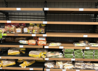 Empty shelves as people stocked up on bread ahead of Storm Emma.