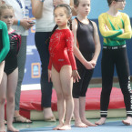 Kay You (8) from Limerick waits in line before taking part gymnastics under 9s at Aldi Community Games Festival<span class=