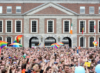 Crowds gathered to celebrate the Yes vote during the marriage equality referendum 2015.