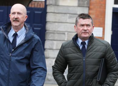 Garda press officers Jim Molloy (left) and Damien Hogan at Dublin Castle today