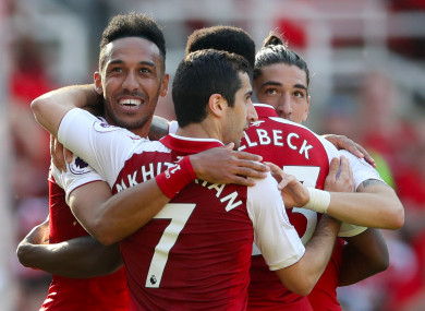 Arsenal's Pierre-Emerick Aubameyang (left) celebrates scoring his side's fifth goal of the game.