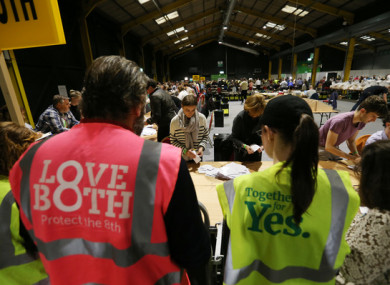 Ballot boxes opened and counting begins at Dublin Count Center, RDS