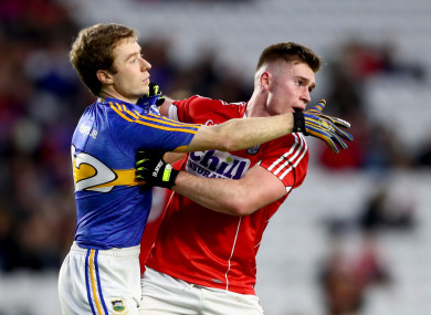 Flahive tussles with Tipperary's Brian Fox during their January League meeting.