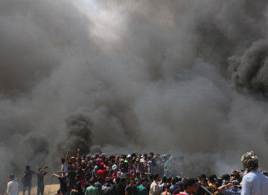 Palestinian demonstrators near the Gaza-Israel border.