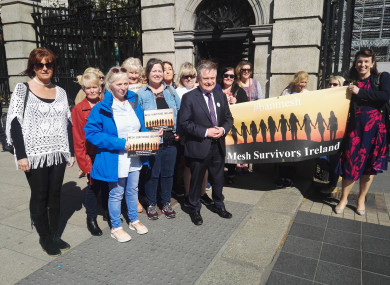 A number of TDs stopped outside the Dáil to talk to the group of women about the complications they suffered after their procedures.