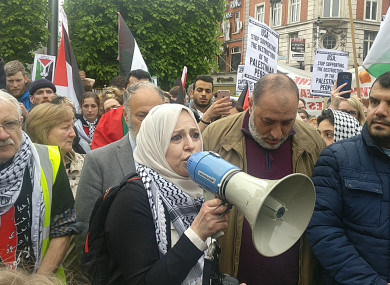 Chairperson of the Ireland-Palestinian Solidarity Campaign Fatin Al Tamimi addresses the crowd on O'Connell Street in Dublin today.