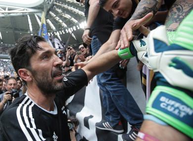 Juventus captain Gianluigi Buffon says goodbye to supporters on Saturday.