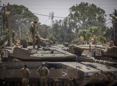 Israeli tanks near the border between Gaza and Israel.