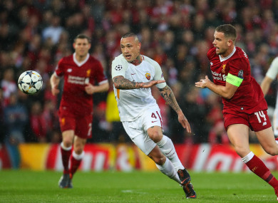 Roma's Radja Nainggolan in action against Liverpool