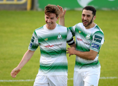 Rovers captain Ronan Finn celebrates with Roberto Lopes.