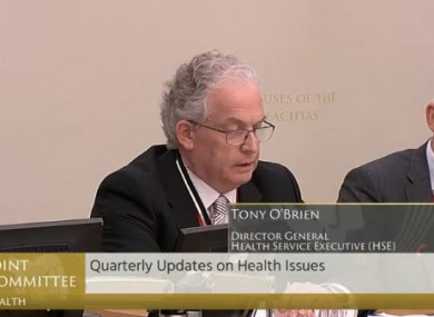 O'Brien at today's Oireachtas Health Committee.