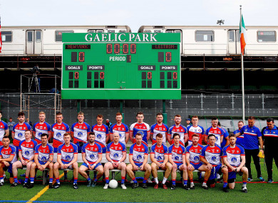 The New York players before Sunday's game with Leitrim.