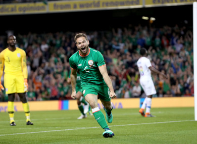 Alan Judge celebrates scoring the winner.