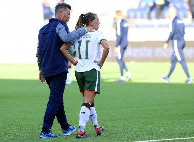 Ireland skipper Katie McCabe with manager Colin Bell.