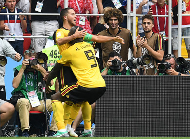 Hazard and Lukaku celebrate together.