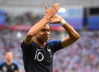 Mbappe applauds supporters following his side's victory over Argentina.