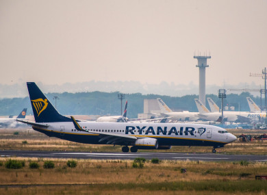 File photo of a Ryanair plane at Frankfurt Airport.
