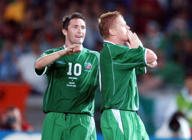 Damien Duff celebrates scoring in the 2002 World Cup.