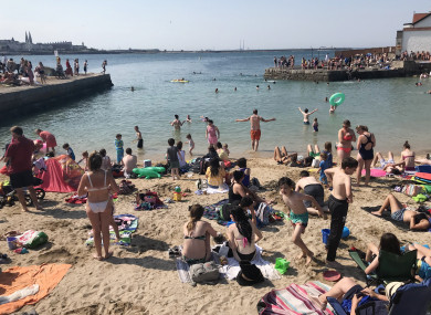 Crowds at Sandycove beach.
