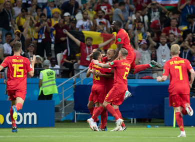 Belgium celebrate their famous win.