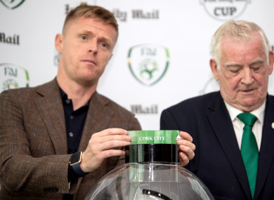 Former Ireland international Damien Duff drawing Cork City out of the pot earlier this month.