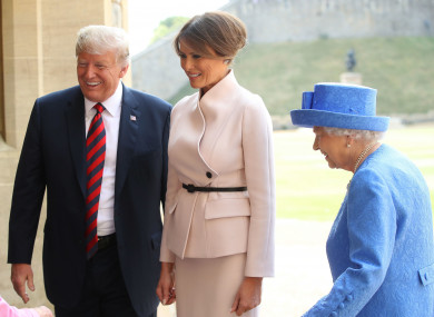 The US first family meets Britain's queen.