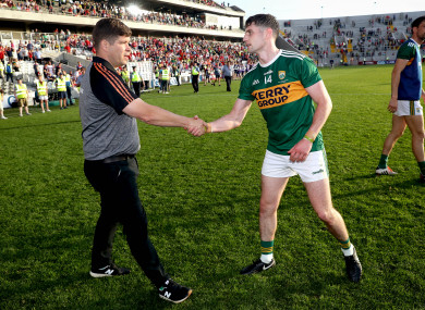 Eamonn Fitzmaurice and Paul Geaney after the Munster final.