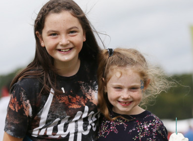 Ciara Blanch Dunne (9) and Aoibhe Blanch (7) at Electric Picnic 2017.