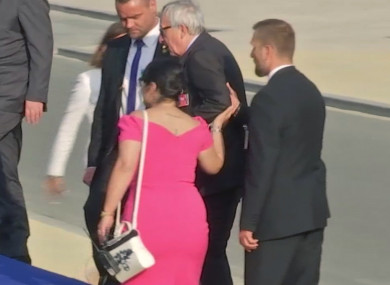 Video screengrab of European Union leader Jean-Claude Juncker being helped up the stairs, as he joins Heads of State and NATO leaders in Brussels, Belgium