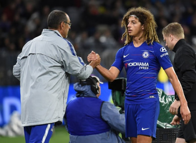 Sarri shakes Ethan Ampadu's hand after the final whistle.