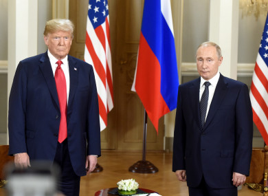 Trump and Putin during a press conference after their meeting in Helsinki.