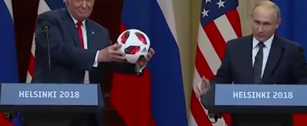 Russian President Vladimir Putin presented his US counterpart Donald Trump with a football.