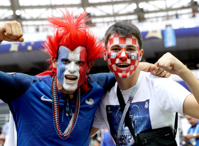Fans in the stands of Moscow's Luzhniki Stadium today.