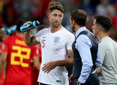 Gary Cahill speaks to England manager Gareth Southgate after their World Cup defeat to Belgium
