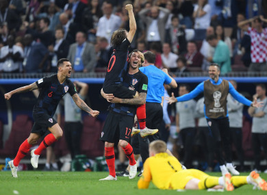 Croatia players celebrate after beating England.