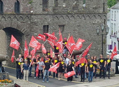 Archaelogists on strike earlier this month in Macroom