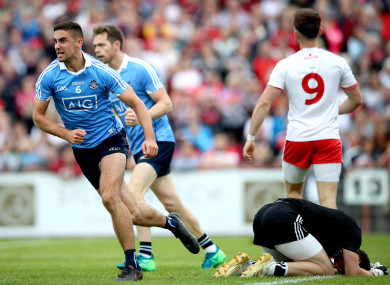 James McCarthy celebrates bagging the only goal of the game for Dublin.