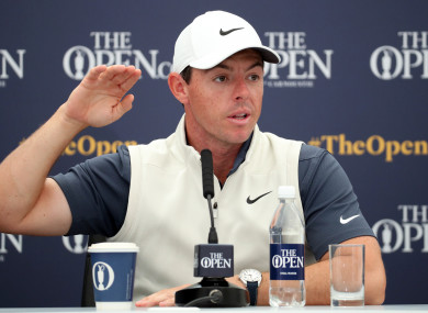 Rory McIlroy during a press conference on preview day four of The Open Championship.