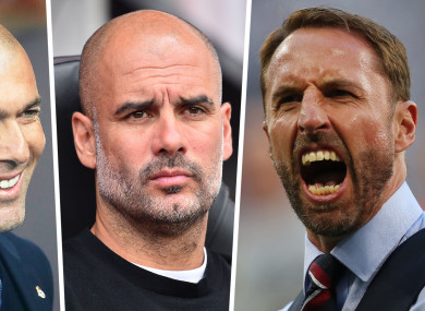 Gareth Southgate Pep Guardiola and Zinedine Zidane are among the nominees for Fifa Coach of the Year.