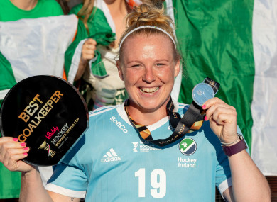McFerran with her award after today's World Cup final.