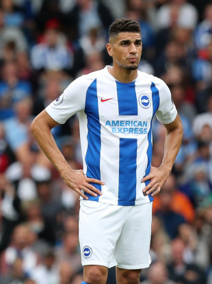 Brighton's Leon Balogun pictured during his Premier League debut against Man United.