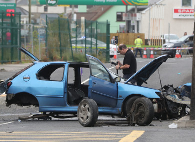 Gardai at the scene of a road accident where two people died and three were injured in Eastend, Bundoran, Co Donegal