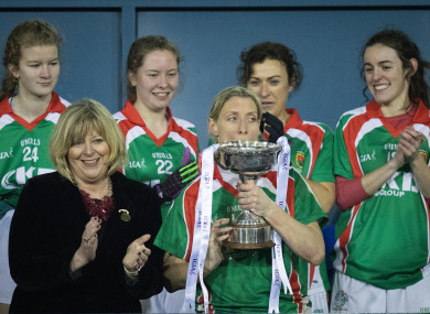 Cora Staunton lifts the All-Ireland ladies club title last December