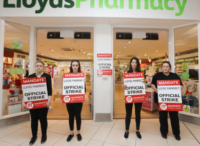 Staff protesting outside Lloyds Pharmacy in Nutgrove, Dublin in June