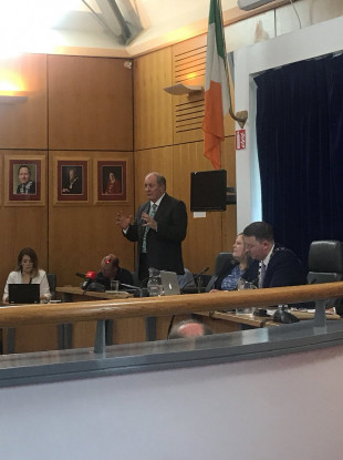Gavin Duffy addressing Carlow County Council today.