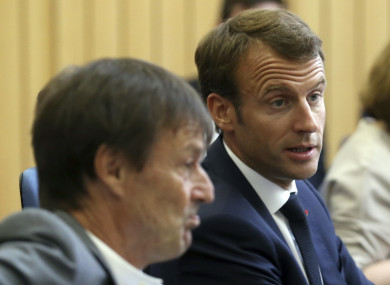 French President Emmanuel Macron, right, with former Environment Minister Nicolas Hulot.