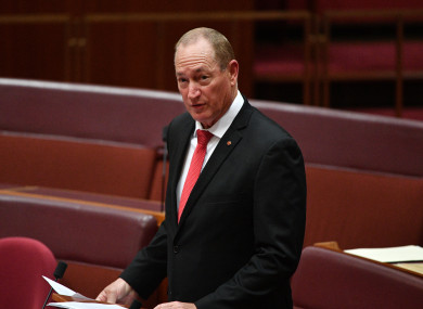 Katter's Australian Party Senator Fraser Anning makes his maiden speech in the Senate chamber at Parliament House in Canberra