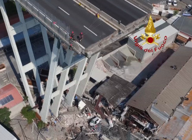 In this frame taken from a video released by the Vigili del Fuoco (Firefighters), an aerial view of the collapsed Morandi highway bridge, in Genoa.